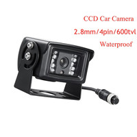 2.8MM 4Pin 600TVL Metal Waterproof Bus/Truck Camera Outdoor Back View Car CCD Rearview Backup camera For Vehicle