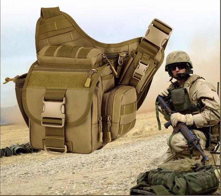 2018 Skidåkning Outdoor Nylon Bag Tactics Män Kvinnor Sport Sadelväska Tactics Camouflage Durable Soldier Shoulder Bag
