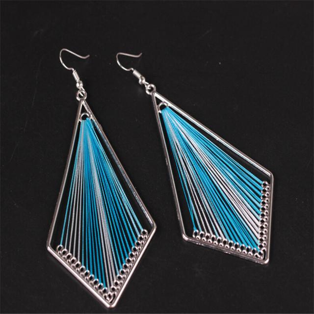 Peacock Tail Earrings | Thread Earrings | Dangle Earrings
