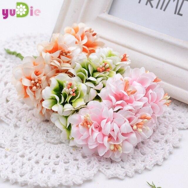 6 unids gradiente de seda estambre handmake regalo guirnalda ramo de flores artificiales decoración de la boda diy scrapbooking flor artificial