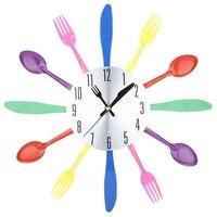 Wielu kolor Nóż Widelec łyżka Kuchnia Sztućce Zegar Ścienny Home Decor
