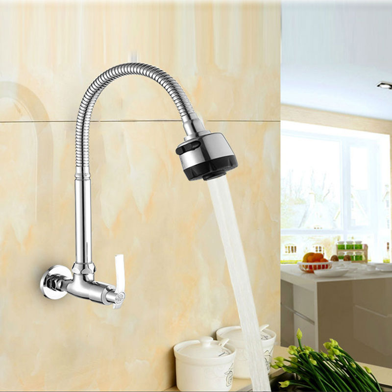 US $18.1 25% OFF|brass single cold water wall mounted kitchen faucet  kitchen sink tap universal pipe faucet can be rotated-in Kitchen Faucets  from ...