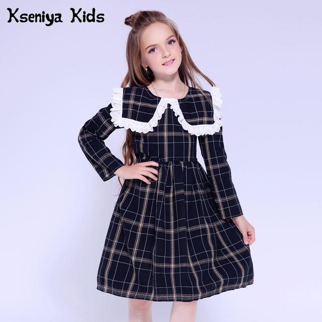 Kseniya Kids Dresses For Girls Dress Long Sleeve Lace Plaid Baby Girl Dress Princess Girl Party Dress Infant Girls Clothes