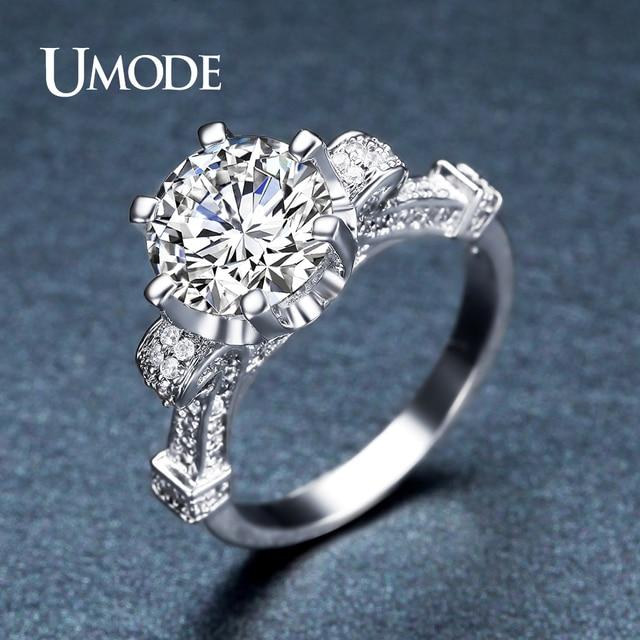 231b35077ac0 UMODE único encanto redondo CZ piedra anillo de compromiso oro blanco  anillo de bodas para las