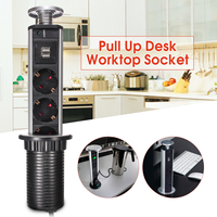 3 Sockets 2 USB Charger Kitchen Table Pop Pull Up Power Point Socket for Home Office Kitchen Worktop Desk Socket