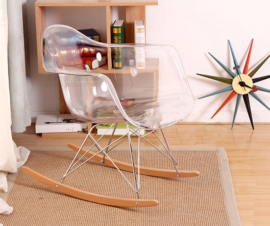 Modern design transparent clear Plastic and wood Rocking Chair. Smoke Acrylic rocking chair with armrest. Plastic Rocking Chair the rocking chair real wood chair lazy people leisure chair