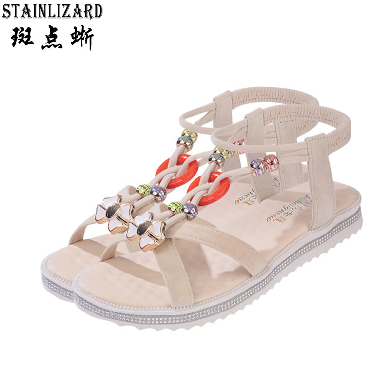 Female sandals 2017 summer han edition of the new flat with beaded sandals female Bohemia peep-toe beach shoes BT519  han edition diamond thick bottom female sandals 2017 new summer peep toe fashion sandals prevent slippery outside wear female