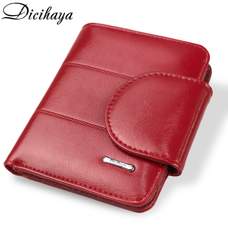 DICIHAYA Genuine Leather Women Wallet And Purses Coin Bag Female Small Red Wallet Lady Purse For Girls Money Bag Card Holder цена