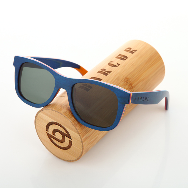 b551250226 BARCUR Handmade Brand Skateboard Wood Sunglass Men s Polarized Wooden  Sunglasses Blue Handmade wood Graft