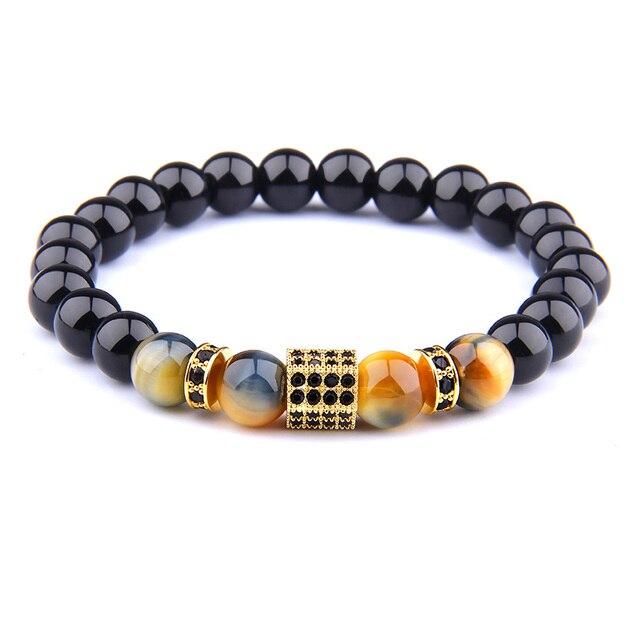 Bracelet Onyx Noir Et Oeil De Tigre