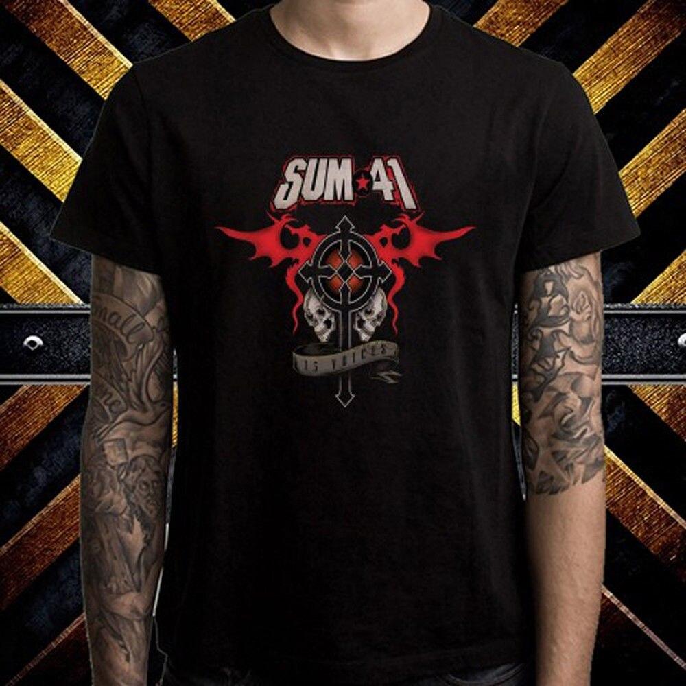 Sum 41 13 Voices Album Cover Rock Band Men Black T-Shirt Printed  T Shirt 2019 Fashion Brand Top Tee