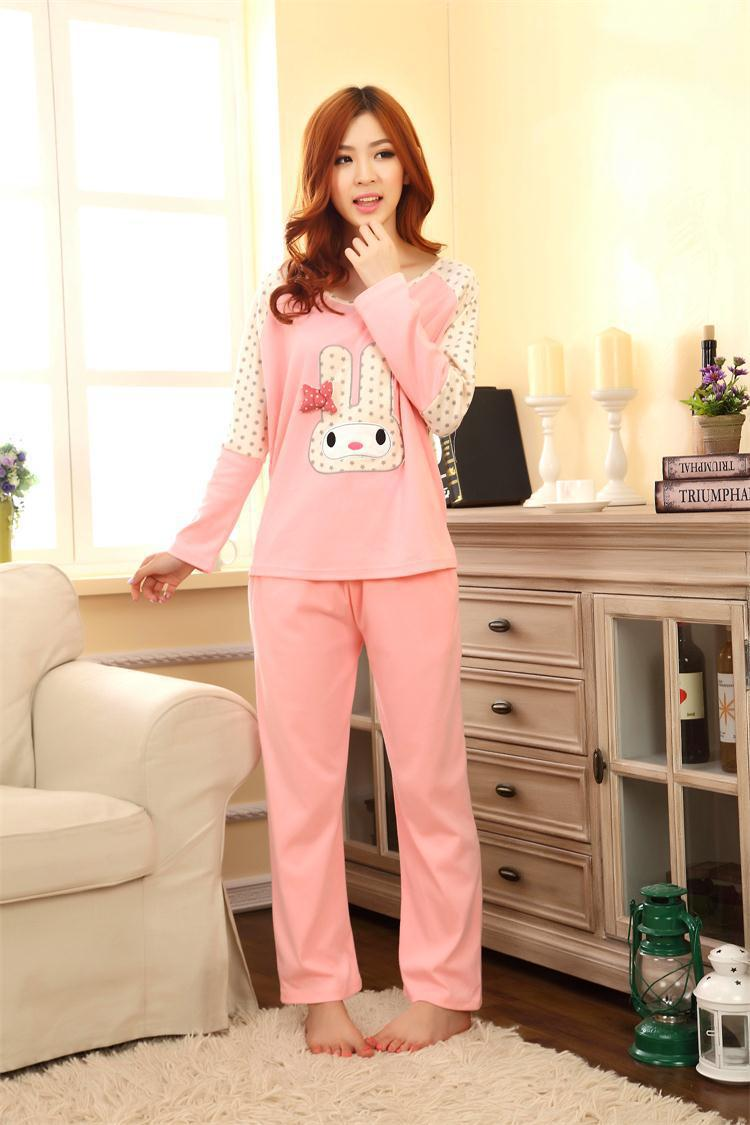 43dc84819a girl sleeping clothes sets women character pajamas cartoon sleepcoat  nightgown nighty full sleeve tops bedgown-in Pajama Sets from Underwear    Sleepwears on ...