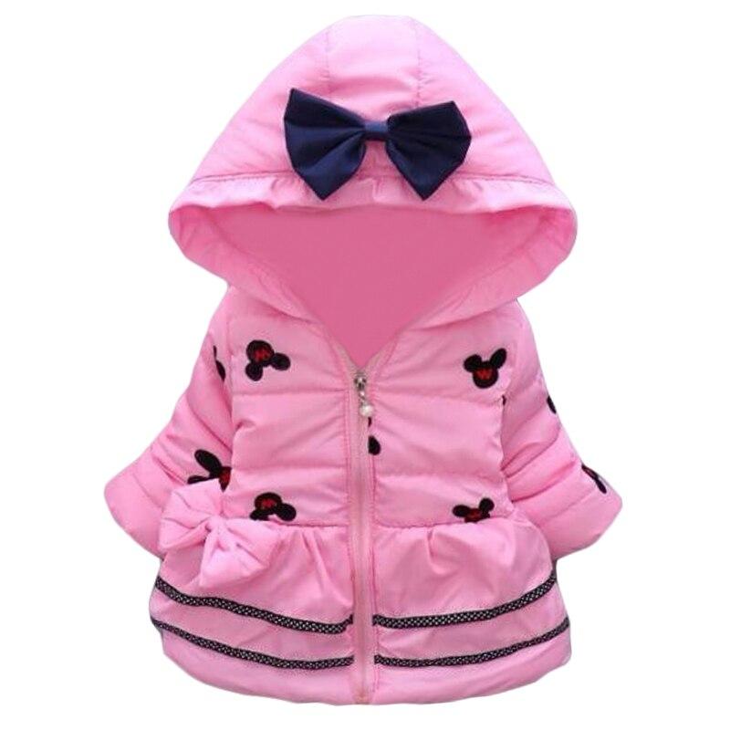 2016New Minnie Baby Girls Jacket Kids Winter Cartoon Lovely Keeping Warm Coat Children Cotton Fashion Hooded Thick Outerwear