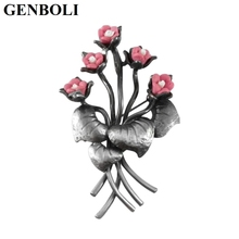 GENBOLI Beautiful Luxury Flower Shape Brooch Pins for Women Daily Clothes Decoration Ladies Jewelry Party Wedding Accessory