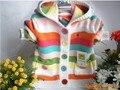 Бесплатный shpping розничная новый 2014 весна осень детская одежда свитер девушки свитера верхняя одежда для детей полоса джемпер свитер