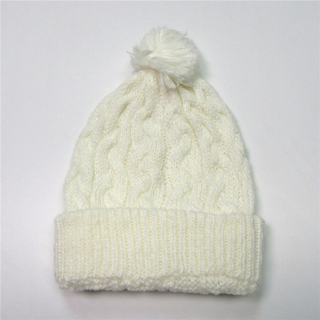 7462788d38a White Winter Knitted Hat For Women Cap Warm Pompom Ball Snow Cap Cute Girl  Gorro Beanies Tuque New Fashion Winter Hat Female Cap