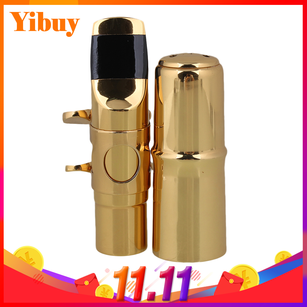 Yibuy Gold plated #7 B-flat Soprano Sax Saxophone Mouthpiece With Ligature morgan vintage model soprano saxophone mouthpiece 7