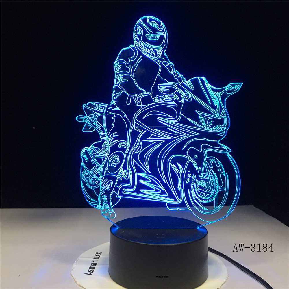 3D-3184 Home Lighting Decoration 3D Lamp LED Motorcycle Model Table Lamp Atmosphere Motorbike Moon Night Light
