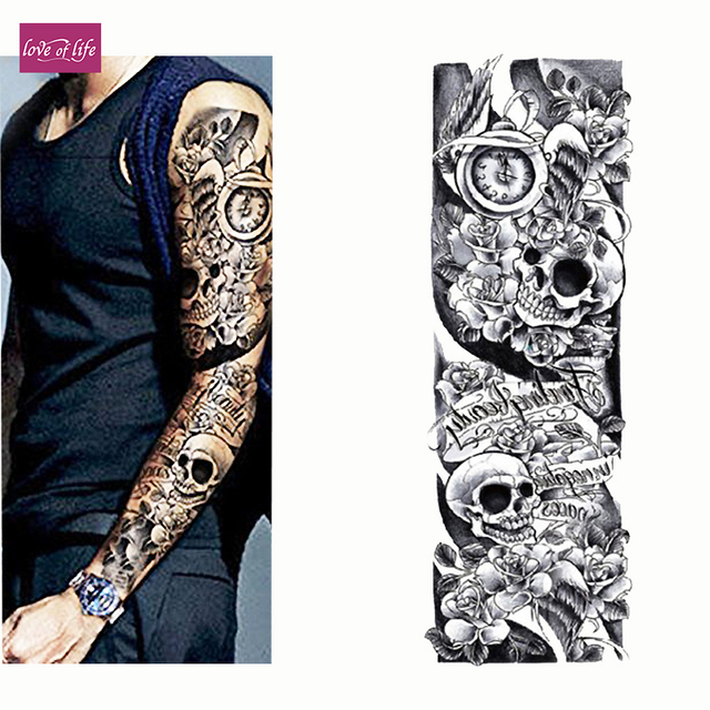 57d3fda05 Temporary Tattoo Sleeve Designs Full Arm Waterproof Tattoos For Cool Men  Women Transferable Tattoos Stickers On The Body Art