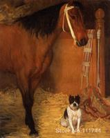 large canvas wall art At the Stables Horse and Dog by Edgar Degas High Quality Hand painted