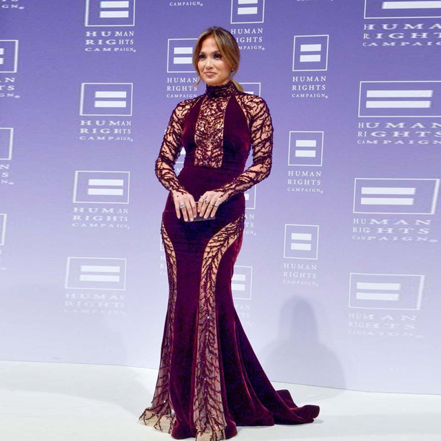 7c01c125b009 Jennifer Lopez Celebrity Dresses 2017 Mermaid Evening Gowns Long Sleeves  With Crystal Beaded Women Formal Dress