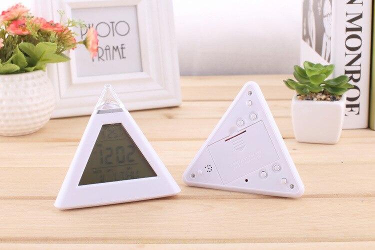 Budzik Cyfrowa piramida LED Kolorowy zegar biurkowy Funkcja drzemki - Wystrój domu - Zdjęcie 6
