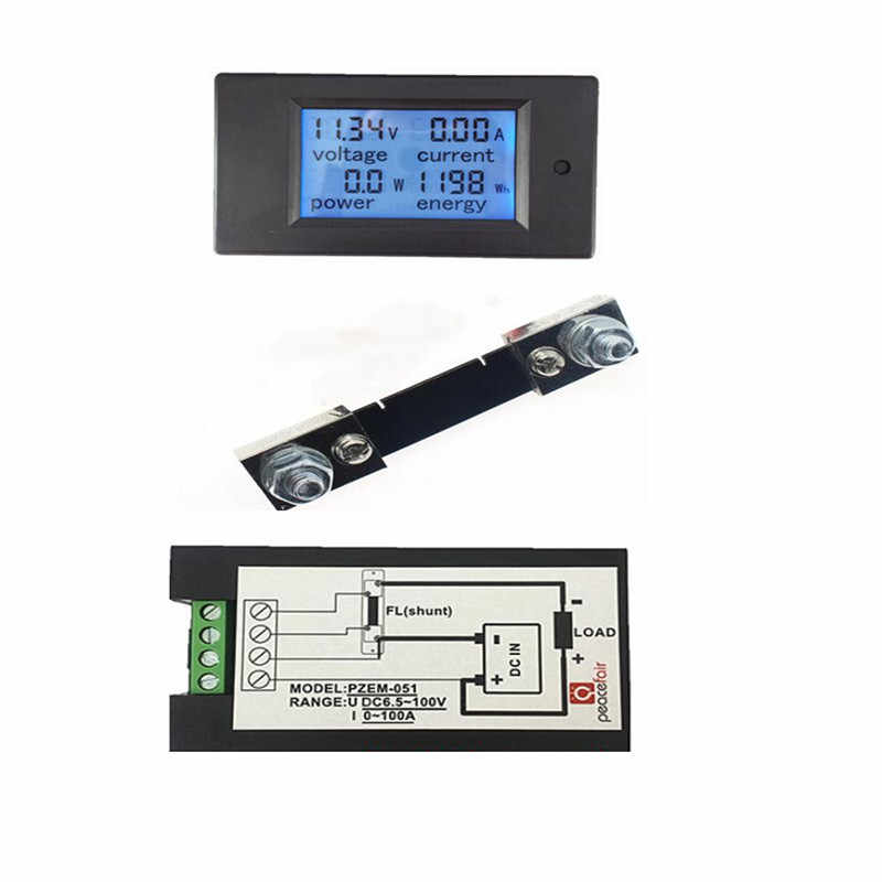 DC 100A 6.5~100v LCD Combo Meter Voltage current KWh Watt Panel Meter 12v 24v 48v Battery