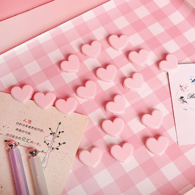 10pc/lot Cute Love Heart Pink Color Small Paper Clip Plastic Craft Memo Clips DIY Clothes Photo Clamps Decorative Office School