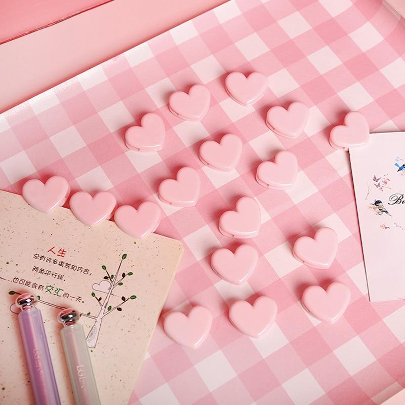 10pc/lot Cute Love Heart Pink Color Small Paper Clip Plastic Craft Memo Clips DIY Clothes Photo Clamps Decorative Office School