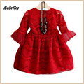 Nacolleo Children Red Dress Wave Pattern 2017 Teen Lace Dress Kids Princess Flare Sleeve Kids Clothing Girls