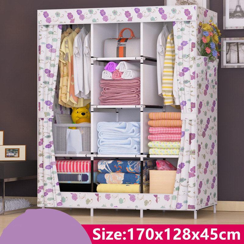 Cotton cloth Non-woven Wardrobe Closet Large  Cabinets Simple Folding Reinforcement Receive Stowed Clothes simple fashion moistureproof sealing thick oxford fabric cloth wardrobe rustproof steel pipe closet 133d