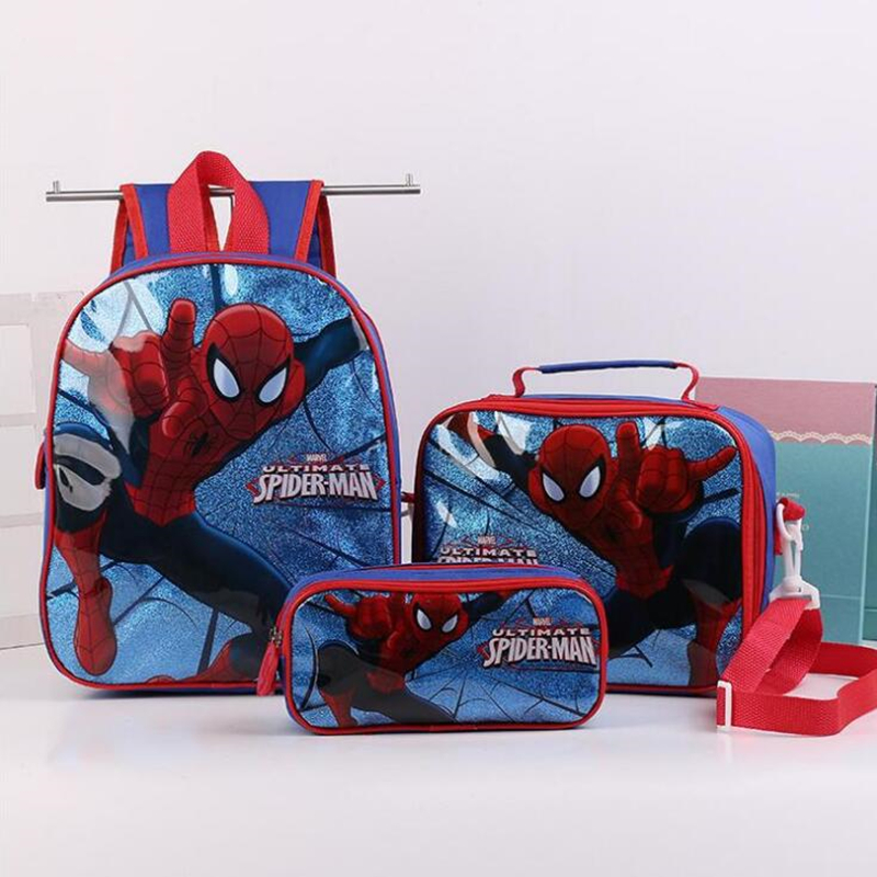 Spider Man Spiderman Boys Backpack School Bag With Lunch <font><b>Pencil</b></font> Case Set 3 for Kids Kindergarten Preschool School Toddler Bags image