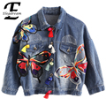 Elegdream Women Spring Autumn Vintage Ladies Butterfly Embroidery Denim Jackets Long Sleeve Single-breasted Fashion Basic Coats