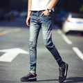 New Fashion Mens Skinny Jeans Ripped Knee Patch Skulls Print Denim Pants Men Korean Style Stretch Male Trousers Slim Fit Jeans