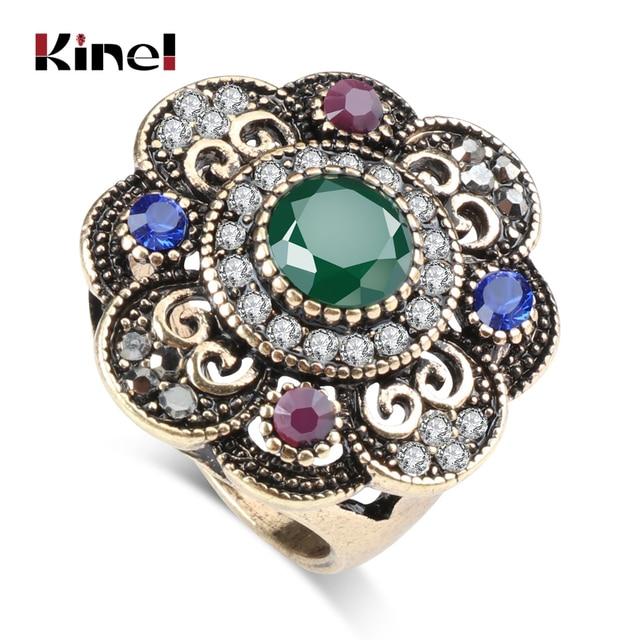 Kinel Vintage Green Crystal Flower Ring Antique Gold Color Turkish Metal Resin R