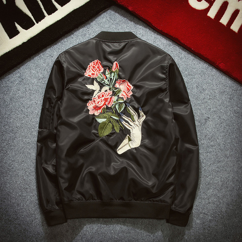 2018 Men Bomber Jackets Embroidered Casual Spring Autumn Trend Mens Street Hip Hop Coats Jacket Overcoat Fashion Windbreaker