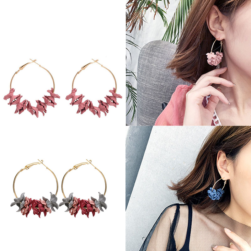 LNRRABC Jwelry Gift Korean Earrings Graceful Women 4 Colors Cloth Art Flower Drill Hot Sale Charming 1Pair Ear Stud Circle Ring