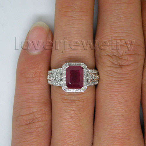 Good Design! Solid 14Kt White Gold 3.72ct Diamond Natural Red Ruby Ring,Emerald Cut Ruby Wedding Ring For Sale
