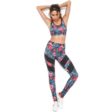 2017 Print Patchwork Tracksuit Crop Top Tanks And Leggings Sporting Skinny Clothing Summer 2 Pieces Hollow Women Clothing