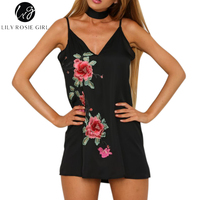 Cool Sleeveless V Neck Embroidery Shift Mini Dress Women Elegant Halter Floral Summer Strap Dresses Sexy