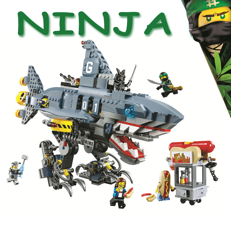 Bela Ninjagoe Movie 70656 Garmadon Shark Mech 929Pcs Building Blocks Bricks 2018 New Toys for children Compatible Legoe Giftse lepine 06069 1346 pcs ninjagoe quake mech set jay kai a gang s model building blocks toys for children compatible legoe 70632