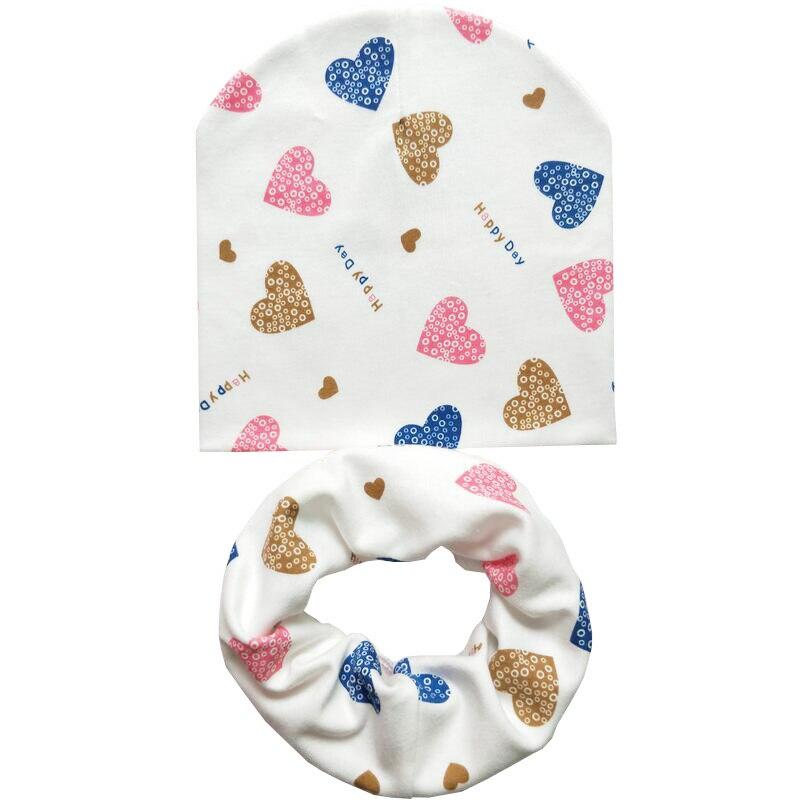 1 conjunto de algodão do bebê chapéu do bebê cap cachecol outono inverno crianças lenço de algodão-colarinho Beanies do bebê das meninas dos meninos Infantil das crianças das crianças chapéu
