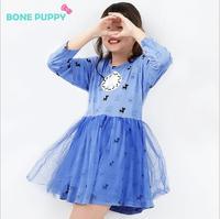 אביב סתיו מלא שמלת כותנה שמלת נסיכת שמלת נשף 3-8 שנים תמונה עבור בגדי ילדה שמלת ילדה חמודה כלב כחול ורוד GD-1