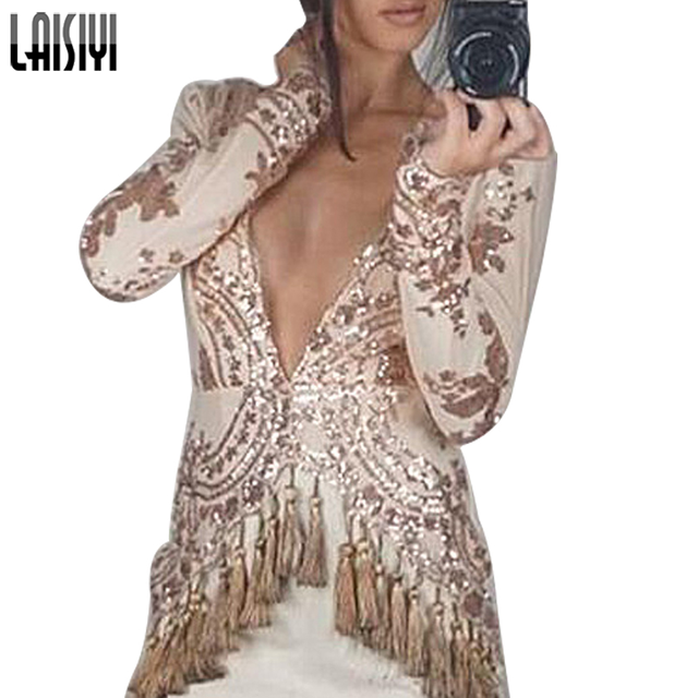 LAISIYI Summer Women Fashion Sexy Long-Sleeved Dress Stitching Sequined  Tassels Dress Romper Mini Dresses Vestidos ASDR100101 6b5da07344ed