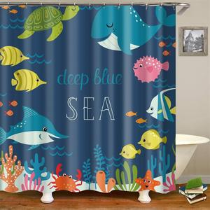 Image 5 - Kids Cartoon Shower Curtain Set Home Decor Owls on a Branch Art Polyester Fabric Bath Curtain with 12 Hooks Shower Curtains