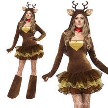 Señora encantadora renos de navidad etapa dress ladies velvet cosplay disfraces fancy dress sexy santa dress b-3869