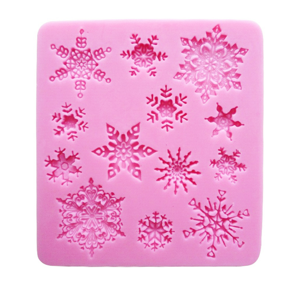 Cake Molds Snowflake Silicone Fondant Mould Diy Baking Tool For Cake Chocolate Jelly Pudding Dessert Pink