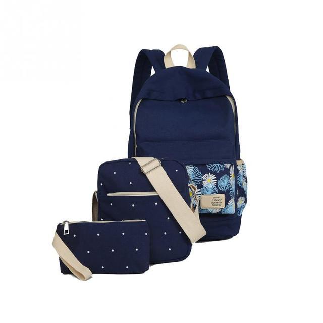 8369ecff1f2d 3 pcs set vintage school bags for girls kids bag canvas children backpack  dot shoulder bags pencil case