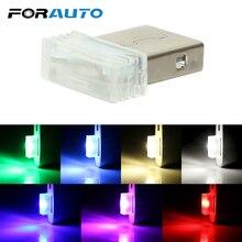 FORAUTO, мини USB декоративная лампа, лампа для окружающей среды, авто, внутреннее освещение, аварийное освещение, неоновый, автомобильный, светодиодный, атмосферное освещение, автомобильный стиль