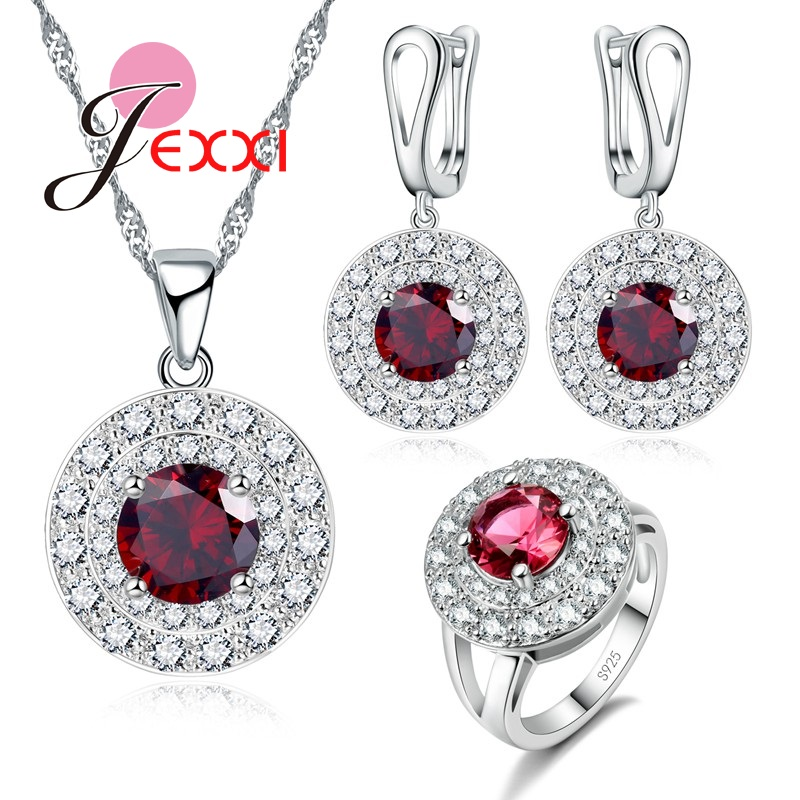 JEXXI Vintage Design Round Pendant 925 Sterling Silver Women Jewelry Sets With Shiny Red Cubic Zirconia Necklace Earrings Ring ying vahine 925 sterling silver jewelry shiny stars pendant necklace